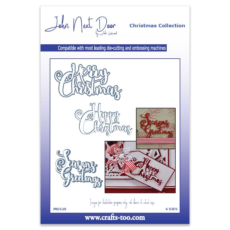 John Next Door Christmas Dies.John Next Door Christmas Dies Festive Swirl Sentiment 6pcs